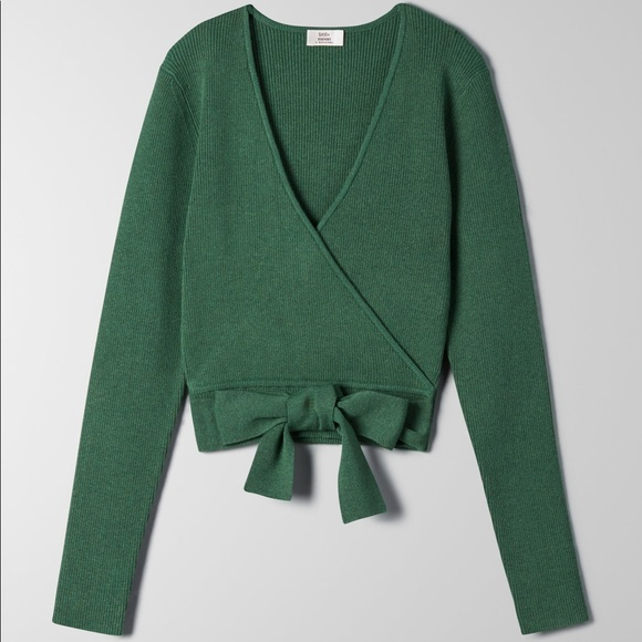 Little Moon All Tied Up Dark Green Wrap Top